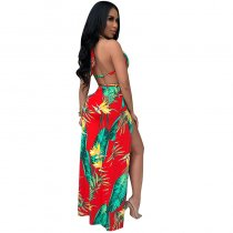 Casual Printed Halter Tropical Slit Dress