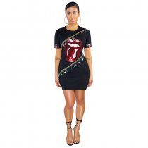 Lips Graphic Sequins Fringe Details T-Shirt Dress