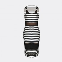 Chic Striped See-through Mid Calf Dress