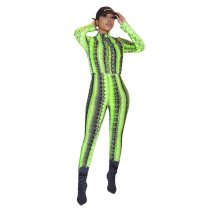 Casual Serpentine Mesh Printed Jumpsuits