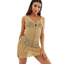 Sleeveleess Knitted Hollow Out Beach Dress