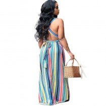 Casual V Neck Striped Backless Floor Length Printed Dress