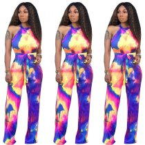 Printed Lace Up Sleeveless Jumpsuits For Women