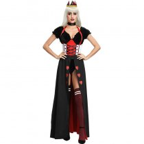 Ladies Enchanting Royal Heart Queen Ball Dress Costume Set