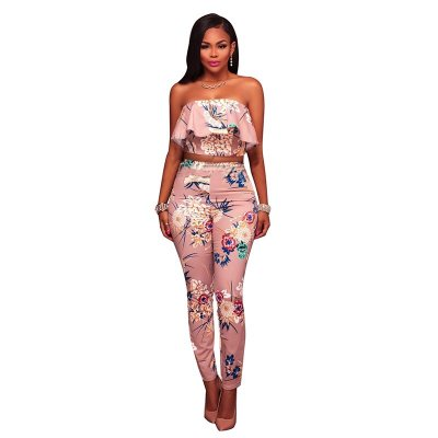 Kalifa Taupe Multi-Color Floral Print Two Piece Set