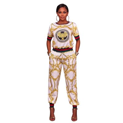 Gotti White Yellow Multi-Color Print Two Piece Jogger Set