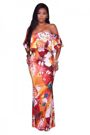 Mangoh Tangerine Multi-Color Off-The-Shoulder Maxi Dress 51405