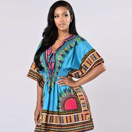 African Printed Blue Dashiki Women Dress
