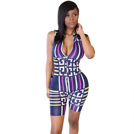 Sleeveless Jazzy Short Romper (Blue)