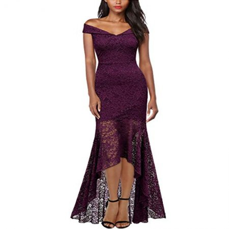 Women's Vintage Off Shoulder Floral Lace Evening Dress