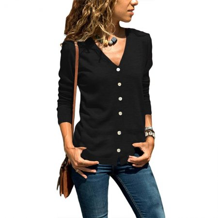 Solid Button Up Long Sleeve Cardigans