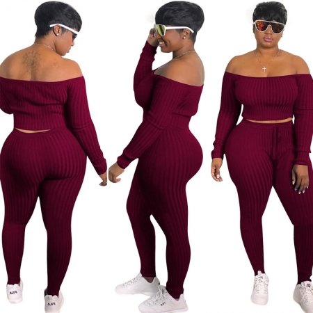Off Shoulder Sport Crop Top And Pants Set