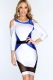 Royal Blue Multi Bare Shoulders Sexy Bodycon Dress L2139