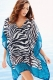 Contrast Border Trim Zebra Tunic Cover Up L38342