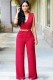 Deep V-Neck Red Belted Jumpsuit L55169-1