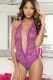 Stretch Lace Halter Teddy with Heart Cut Out L81134-1