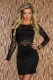 Sexy Black Lace Long Sleeve Dance Party Club Formal Chic Dress W