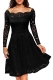 Black Long Sleeve Floral Lace Boat Neck Cocktail Swing Dress 36155-4