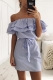Stripe Off Shoulder Belted Flounced Dress L28202-3