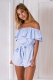 Blue Off The Shoulder Ruffle Romper L55304
