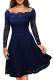 Blue Long Sleeve Floral Lace Boat Neck Cocktail Swing Dress 36155-2