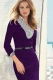 V-neck Knee Length Midi Dresses Purple L36012-3