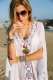 Embroidered V Neck Flowy White Beach Cover Up L38431