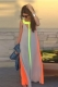 Color Block Hollow Out Fashionable Scoop Neck Sleeveless Maxi Dr