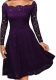 Purple Long Sleeve Floral Lace Boat Neck Cocktail Swing Dress 36155-1