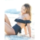 New Black Off Shoulder Flounce Bikinis 32612-2