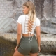 Fashion V Neck Lace Up Crop Top 592-1