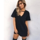Womens Solid Plain Simple Casual Dress Long T-shirts 599-1