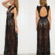 Sexy Hollow Out Black Lace Elegant Maxi Dress 5015-2