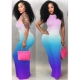 Gradient Color Open Back Sleeveless Maxi Dress