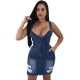 Wide Straps V-neck Denim Bodycon Dress