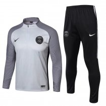 PSG Training Suit Zipper Light Grey Stripe 2017/18