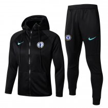Chelsea Hoodie Jacket + Pants Training Suit Black 2017/18