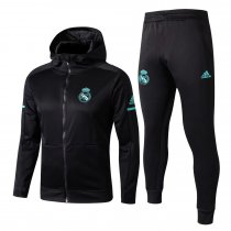 Real Madrid Hoodie Jacket + Pants Training Suit Black 2017/18