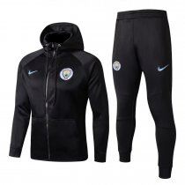 Manchester City Hoodie Jacket + Pants Training Suit Black 2017/18