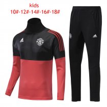 Kids Manchester United Training Suit Turtle Neck Black/Red 2017/18