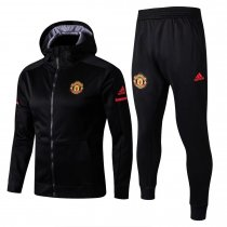 Manchester United Hoodie Jacket + Pants Training Suit Black 2017/18