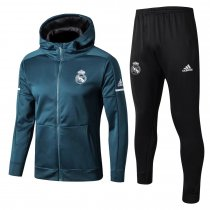 Real Madrid Hoodie Jacket + Pants Training Suit Blue 2017/18