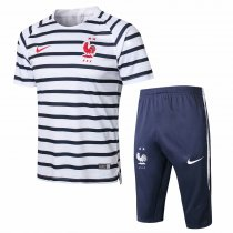 France FIFA World Cup 2018 Short Training Suit White Black Stripe - 2-Star