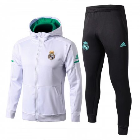 Real Madrid Hoodie Jacket + Pants Training Suit White 2017/18