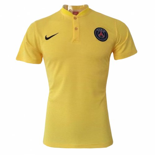 newest d1d94 93146 PSG Polo Shirt Yellow Stripe 2017