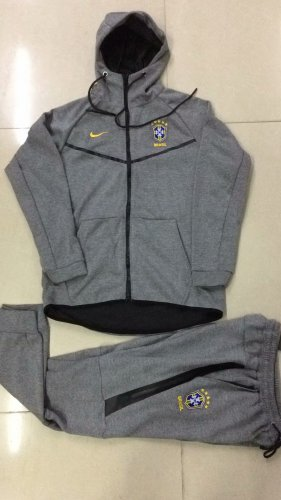 d908e454930 Brazil Tech Fleece Hoodie Jacket + Pants Training Suit Grey 2019