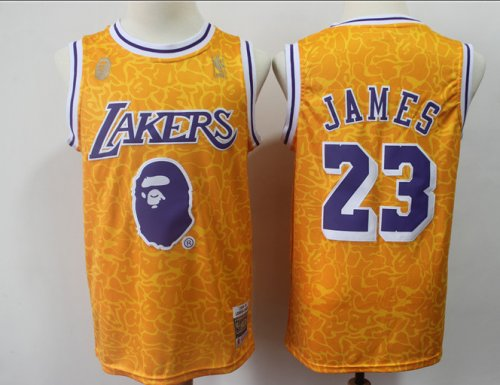 cheap for discount 59cee f6e15 Men's Los Angeles Lakers James 23 BAPE NBA Jersey