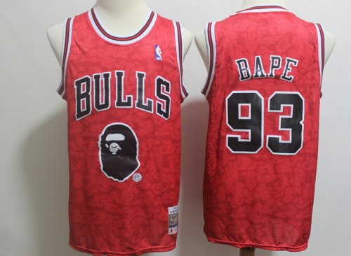 best cheap 40b76 a4eb3 Men's Chicago Bulls BAPE 93 Red NBA Jersey