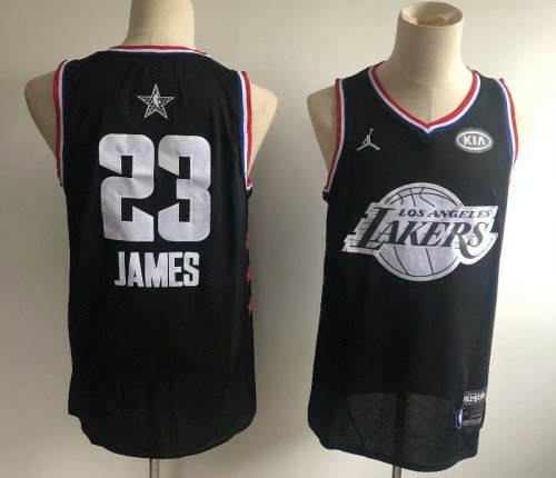 new product 345f7 7fb35 Men's Los Angeles Lakers LeBron James 23 Jordan Brand Black 2019 NBA  All-Star Game Finished Swingman Jersey