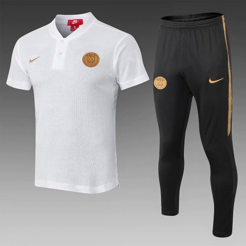 competitive price bb842 68ae5 PSG Polo + Pants Training Suit Gold Logo White 2018/19